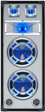 "Disco White Speaker 2x 8"" 600W LED Blue"