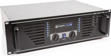 """Effektforstærker SKY-1500B """"god til semi prof. brug"""" 2x750W, sort"""