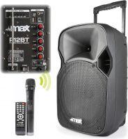 "Kraftig Transportabelt lydanlæg 12"" bas 350W med MP3 / USB / Bluetooth / Trådløs mikrofon"