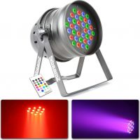 Par 64 LED lampe / 36x 3W RGBW LED'er / DMX, Musikstyring og IR fjernbetjening
