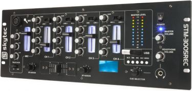 """DJ Mixer STM-3005REC 4-kanals med optagefunktion via USB / Equalizer / 19"""" rack montering"""