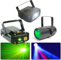 Lyspakke med Moon Flower Lyseffekt + 150W Disco strobolys + Apollo Lasereffekt rød+grøn