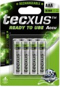 Genopladelige Almindelig NiMH (AAA-AA-C-D), Tecxus Tecxus NiMH AAA/HR03 batteri 800mAh, ReadyToUse (4 stk.)