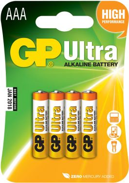 Alkaline batteries, AAA, 1.5V, packed 4/ blister