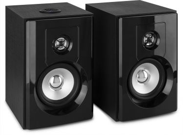 "SHF404B Powered Bluetooth Bookshelf Speakers 4"" MP3"