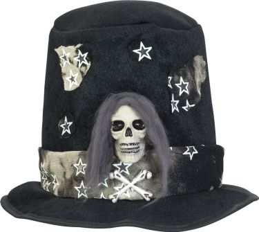 Europalms Halloween Costume Top-Hat with Skull