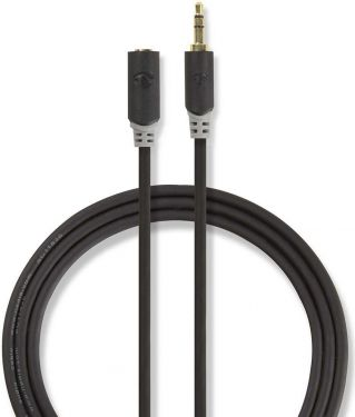 Nedis Stereo Audio Cable | 3.5 mm Male - 3.5 mm Female | 1.0 m | Anthracite, CABW22050AT10