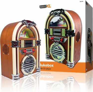 basicXL Bordradio Jukebox FM / AM CD Brun, BXL-JB10