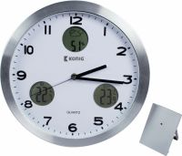 König Weather Station / Wall Clock Indoor and Outdoor White/Silver, KN-CL30N