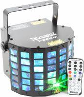 Lyseffekt Radical Derby RGBAWP LED med rød+grøn laser. Meget flotte farver med DMX og musikstyring