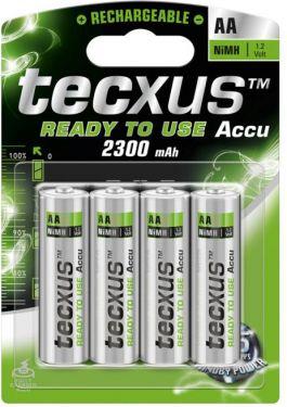 Tecxus NiMH AA/HR6 batteri 2300mAh, ReadyToUse (4 stk.)