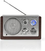 Nedis UKW-radio | 9 W | Analog indstilling | Retro-design | Brun, RDFM5100BN
