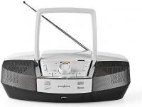 Nedis Boombox   12 W   Bluetooth®   CD-afspiller/FM-radio/USB/AUX   Hvid, SPBB200WT