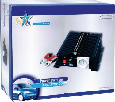 HQ Power Inverter Modificeret sinus 12 VDC - AC 230 V 600 W Fransk, HQ-INV600C/12F
