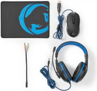 Nedis Gaming Combo Kit | 3-in-1 | Headset, Mouse and Mouse Pad, GCK31100BK