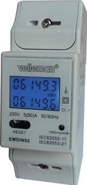 Velleman Elmåler (bimåler) 1-faset 230V (80A) digital 2-modul