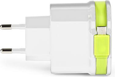 Sweex Vægoplader 3-Udgange 3 A 2 x USB / Micro USB Hvid/Grøn, CH-026WH