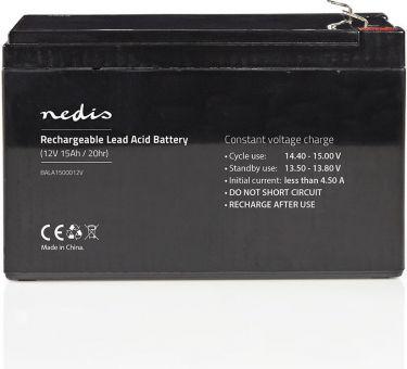 Nedis Genopladeligt blybatteri 12V   15000 mAh   151 x 98 x 95 mm, BALA1500012V