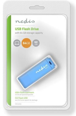 Nedis USB 2.0 Flash Drive   64GB   Reading 12 Mbps / Writing 3 Mbps   Blue, FDRIU264BU