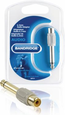 Bandridge Mono-Audio Adapter 6.35 mm Han - RCA Hun Grå, BAP551