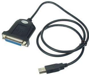 Printerkabel USB til parallel SUBD25 pol hun, Sort (0,8m)