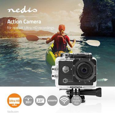 Nedis Action-kamera | Real 4K Ultra HD | Wi-Fi | Vandtæt etui, ACAM61BK