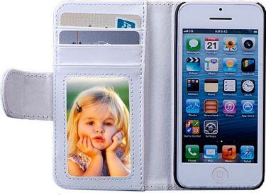 Læder flipcover m. kreditkortholder til iPhone 5/5S Hvid