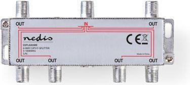 Nedis CATV F-Splitter | Max. 10 dB Attenuation | 5 - 1000 MHz | 6 Outputs, SSPL600ME