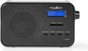 Nedis DAB+ radio | 3,6 W | FM | Ur og alarmfunktion | Sort, RDDB1000BK