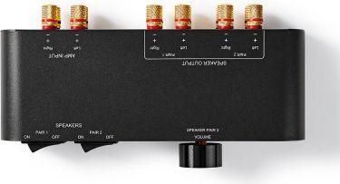 Nedis Speaker Control Box | 2-Way | Banana | Volume Control | Black, ASWI2652BK