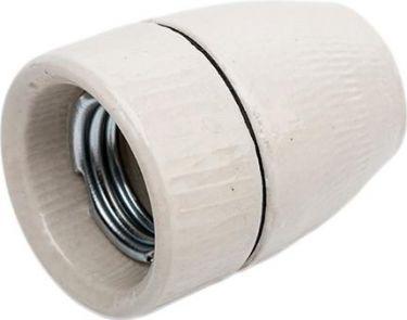 E27 Porcelænsfatning 10mm gevind, Glaseret, Hvid