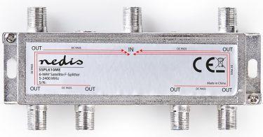 Nedis Satellite F-Splitter | Max. 17 dB Attenuation | 5 - 2400 MHz | 6 Outputs, SSPL610ME