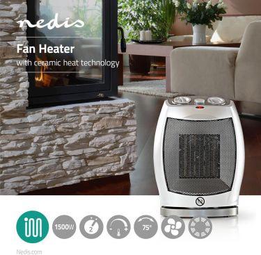Nedis Ceramic Fan Heater | 750 & 1500 W | Grey, HTFA11CWT