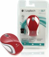 Logitech Wireless Mouse Travel 3-Button Red, M187R