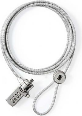 Nedis Lås til bærbar pc   Ciffer   1.8 m   Sølv, NBLKD100ME