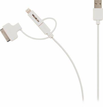 Valueline 3-I-1 Opladerkabel USB A Han - Micro B Han 1.00 m Hvid, VLMP39410W1.00