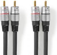 Nedis Stereolydkabel | 2 x RCA-hanstik - 2 x RCA-hanstik | 20,0 m | Grå, CAGC24200AT200