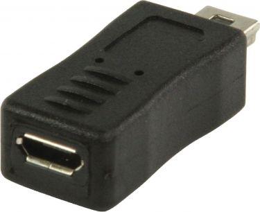 Valueline Usb 2.0 Adapter Mini 5-Pin Han - Micro B Hun Sort, VLCP60907B