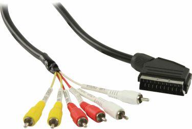 Valueline SCART Cable SCART Male - 6x RCA Male 2.00 m Black, VLVP31160B20