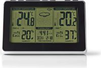Nedis Weather Station | Wireless sensor | Alarm clock | Weather Forecast, WEST400BK