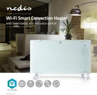 Nedis Wi-Fi Smart Convection Heater   Thermostat   Glass Front Panel   2000 W   White, WIFIHTPL20FWT
