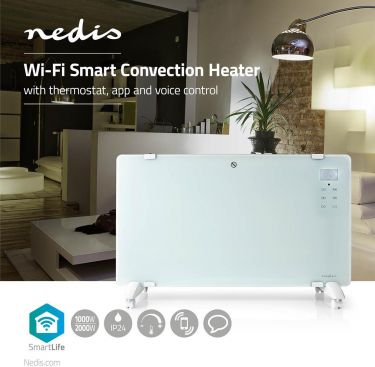 Nedis Wi-Fi Smart Convection Heater | Thermostat | Glass Front Panel | 2000 W | White, WIFIHTPL20FWT