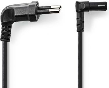 Nedis Power Cable   Euro Plug Angled - IEC-320-C7 Angled Up/Down   2.0 m   Black, PCGP11075BK20