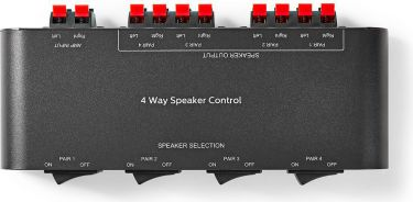 Nedis Speaker Control Box | 4-Way | Terminal Clamp | Black, ASWI2604BK