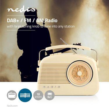 Nedis DAB+-radio | 5,4 W | FM | Bærehåndtag | Beige, RDDB5000BG