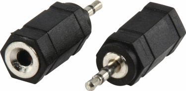 Valueline Stereo Audio Adapter 2.5 mm Han - 3.5 mm Hun Sort, AC-018