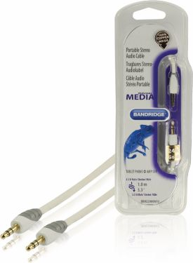 Bandridge Stereo Audio Kabel 3.5 mm Han - 3.5 mm Han 1.00 m Hvid, BBM22000W10