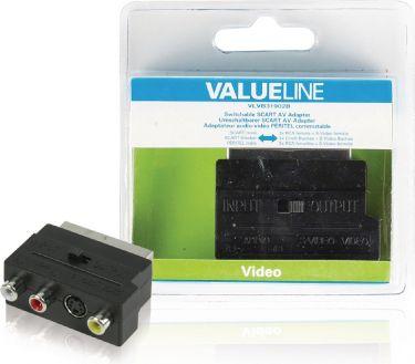 Valueline Scart-Adapter Skiftelig SCART Han - S-Video Hun + 3x RCA Hun Sort, VLVB31902B