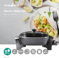 Nedis Electric Skillet Pan | 30 cm | Thick-cast Aluminium Body, FCSP110EBK30