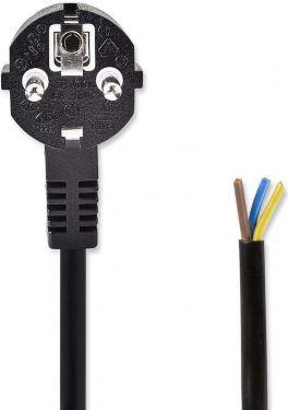 Nedis Strømkabel | Schuko-stik, vinklet - åben kabelende | 3,0 m | Sort, PCGP10700BK30